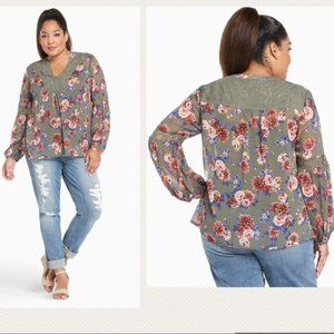 NWT Torrid Floral Long Sleeve Lace Green Pink